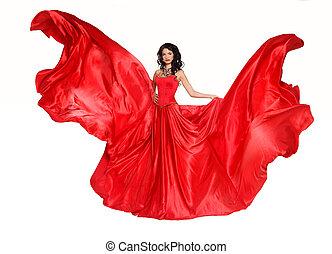 piękna kobieta, w, wspaniały, czerwony strój, odizolowany, na białym, tło., studio, photo., fashion.