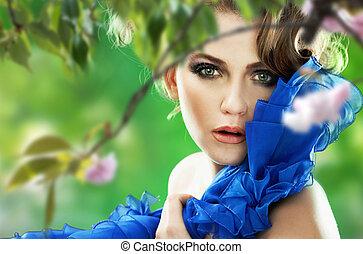 piękna kobieta, wiśnia, na, drzewo, młody, portret