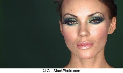 piękna kobieta, wystający, makijaż, portret, sexy