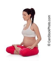 piękna kobieta, yoga, brzemienny