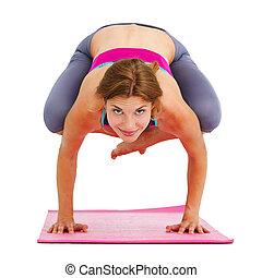 piękna kobieta, yoga, isolated., -, młody