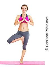 piękna kobieta, yoga, isolated., -, młody, portret