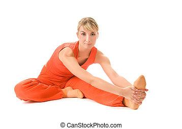 piękna kobieta, yoga, młody, odizolowany, tło, biały, ruch