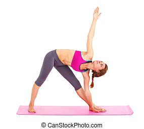piękna kobieta, yoga, -, młody, odizolowany, white.