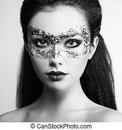 piękna kobieta, złoty, maska, młody, tajemniczy