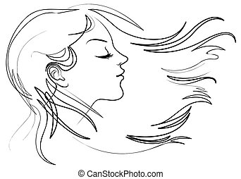 piękna kobieta, z, długi, hair., włosy, trzepotliwy, wiatr