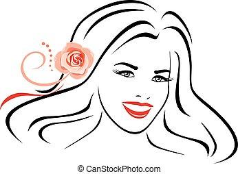 piękna kobieta, z, goździk podniósł się, w, jej, hair., kontur, portret