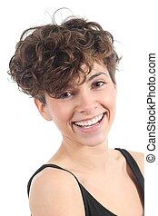 piękna kobieta, z, na, zdumiewający, uśmiech