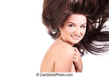 piękna kobieta, z, podmuchowy, włosy