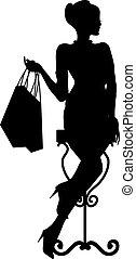 piękna kobieta, zakupy, fason zamiar, bag.