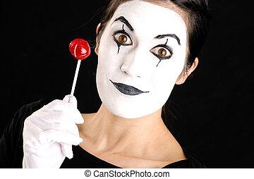 piękna kobieta, zawiera, cukierek, twarz, brunetka, mim, biały, lizak