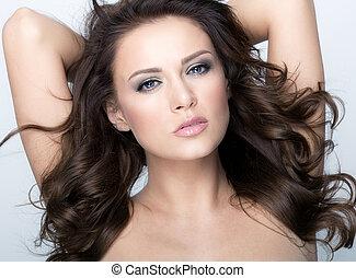 piękna kobieta, zdrowy, brunetka, hair., portret