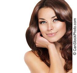 piękna kobieta, zdrowy, włosy, brunetka, portret