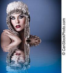 piękna kobieta, zima, młody, woda, portret, kapelusz