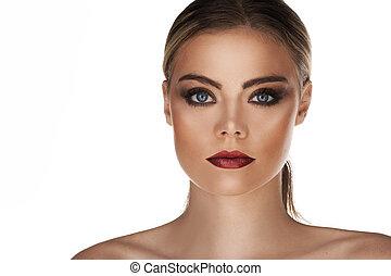 piękna twarz, od, młody dorosły, kobieta, z, czysty, świeży, skóra, -