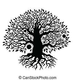 piękne życie, rocznik wina, drzewo, ręka, pociągnięty