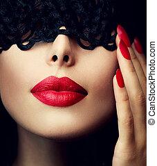 piękne wejrzenie, kobieta, koronka, jej, na, maska, czarnoskóry