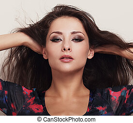 piękne wejrzenie, samica, makijaż, jasny, closeup, make-up., portret, wzór