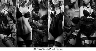 piękni kobiety, przedstawianie, w, bielizna