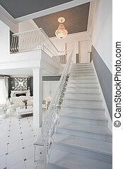 piękno, biały, schody, w, dom