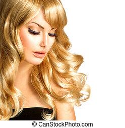 piękno, blondynka, woman., piękny, dziewczyna, z, długi, kędzierzawy, blond włos