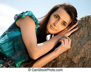 piękno, brunetka, dziewczyna, portret