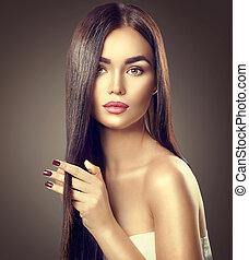 piękno, brunetka, wzór, dziewczyna, dotykanie, brązowy, długi, zdrowy, włosy