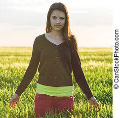 piękno, dziewczyna, outdoors, cieszący się, nature.