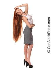 piękno, dziewczyna, portrait., zdrowy, długi, czerwony, hair.