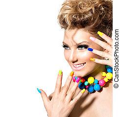 piękno, dziewczyna, z, barwny, makijaż, paznokieć froterują, i, przybory