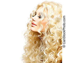 piękno, dziewczyna, z, zdrowy, długi, kędzierzawy, hair., blondynka, kobieta