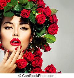 piękno, fason modelują, dziewczyna, portret, z, czerwone róże, fryzura