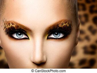 piękno, fason modelują, dziewczyna, z, święto, lampart, makijaż