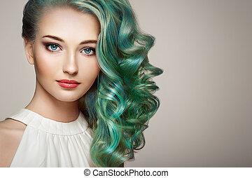 piękno, fason modelują, dziewczyna, z, barwny, farbowany włos