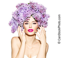 piękno, fason modelują, dziewczyna, z, bez, kwiaty, fryzura