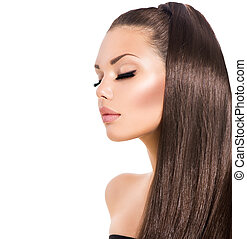 piękno, fason modelują, dziewczyna, z, długi, zdrowy, brunatny włos