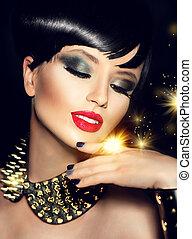 piękno, fason modelują, dziewczyna, z, jasny, makijaż, i, złoty, przybory