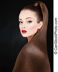 piękno, fason, portret, od, piękna kobieta, z, długi, zdrowy, włosy, na, czarne tło
