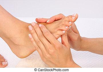piękno, fotografia, -, feet, traktowanie, masaż