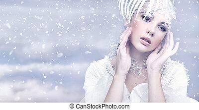 piękno, kobieta, na, zima, tło