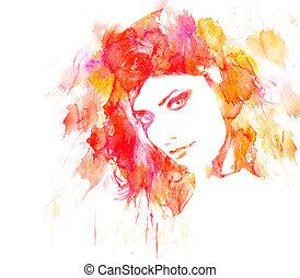piękno, kobieta, portrait.