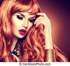 piękno, kobieta, portrait., zdrowy, długi, kędzierzawy, czerwony włos