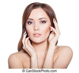piękno, kobieta, wzór, brunetka, dziewczyna, portret, odizolowany, na, niejaki, biały, tło.