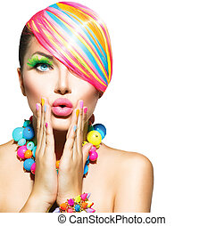 piękno, kobieta, z, barwny, makijaż, włosy, paznokcie, i,...