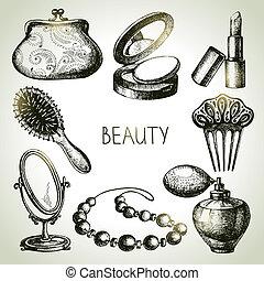piękno, kosmetyki, set., ikona, wektor, rys, ilustracje, rocznik wina, ręka, pociągnięty