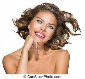 piękno, młoda kobieta, portret, na, white., krótki, kędzierzawy włos