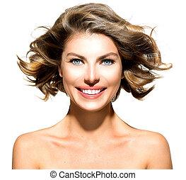 piękno, młoda kobieta, portret, odizolowany, na, biały