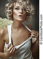 piękno, młody, blond, styl, moda, fotografia