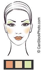 piękno, makijaż, ilustracja, twarz, wektor, dziewczyna