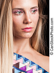 piękno, makijaż, młody, portret, kryształy, blondynka